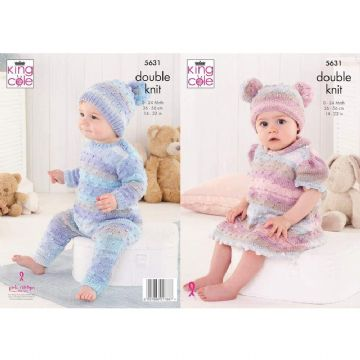 King Cole Baby Onesie, Dress and Hats DK Knitting Pattern 5631